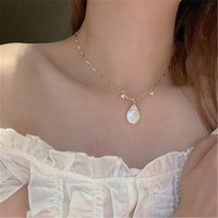 Chains Elegant Water Drop Pearl Pendant Necklace For Women Girl Metal Gold Color Geometric Short Chain Choker Necklaces Party Jewelry