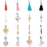 NEW 2021 100% 925 Sterling Silveand797212COE ORANGE TASSEL HANGING CHARM and luxuriousDIY Women Original Bracelet Fashion Jew elry Gift