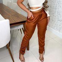 Women's Pants & Capris Women Solid Streetwear Lacing Up Harem Spring Autumn Mid Waist Elastic Slim Female Drawstring Long Pockets Trousers
