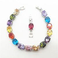 Link, Chain Wedding Bracelet Multicolor Zircon Jewelry High Quality + Round Cubic Zirconia Tennis Charm