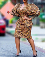 Casual Dresses Fashion Women's Dress Summer V-neck Hedging Leopard Print Sexy High Waist Slim Fishtail Midi Donsignet