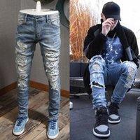 Blue Rhinestone Jeans Men Slim Fit Pencil Jeans Elastic Spandex Jeans For Man Vintage Cowboy Denim