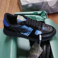 Top Qualität Männer Rockrunner Camouflage Sneakers Designer Mesh Stoff Trainer Blaues echtes Leder Outdoor Lace-up Freizeitschuhe US6-11.5 003