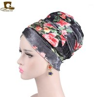 5pcs lot 2021 Women Luxury Floral Velvet Turban Nigerian Hijab Extra Long Tube Head Wrap Muslim Scarf Turbante1