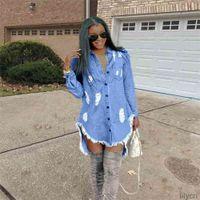 Hiphop denim bleu jean chemise longue chemise robe de plage printemps automne déchiré tassel designer dentelle robes décontractées boho