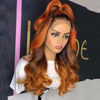 Ingwer Highlight Lace Front Perücke 28 Zoll Tiefe Trennen 180% Omber Farbe Brasilianische Remy Hair Menschliche Perücken für Frauen