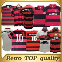 1982 الرجعية لكرة القدم الفانيلة Flamengo المنزل الأحمر والأسود خمر ميلو camiseta العتيقة نادي دي ريزاتا تفعل قمصان كرة القدم