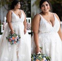 플러스 사이즈 A 라인 웨딩 드레스 V-Neck Backless Bridal Gowns 섹시한 Applique 레이스 컨트리 스타일 맞춤 제작 vestido de noiva