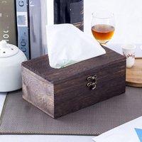 Boîtes de mouchoirs de toilette boîte de serviettes de bambou rétro pour la maison bureau de bureau de bureau en bois serviette d'essai de bois Type de ménage Type de ménage