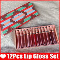 12 unids / set labios maquillaje colección navidad mate labial labial conjunto 12 colores color desnudo lipkit lipgloss likstick
