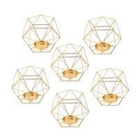 Candle Holders 8Pcs 3D Geometric Iron Home Romantic Durable Candlesticks Wedding Decoration Craft,Golden