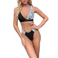 Women's Swimwear 2021 Women Fashion 2PCS Swimming Bikini Sleeveless Color Block Tops Bottoms Set Summer Beach Holiday Swimsuits Bathing Suit