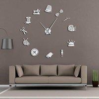 Wall Clocks Tailor Shop DIY Giant Clock Dressmaker Needlecraft Seamstress Mannequin Sewing Machine Needle Bar Large Watch