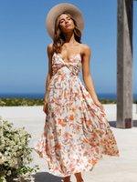 2021 summer new women's Bohemian sexy women's V-neck print drawstring mid length skirt loose Waist Beach Resort sleeveless dress