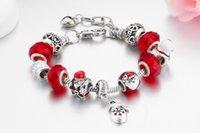 Joyería hecha a mano Venta al por mayor Pulseras de encanto europeo DIY Bricolaje grande Bead Pulsera Regalos de Navidad para las mujeres Santa Claus Aleación Beads Red
