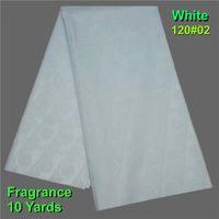 10YARD / SET Tissu Africain Gold Bazin Riche Getzner White Gold Blue Tissu pour hommes Bassin Riche Getzner Brocade Jacquard Tissu