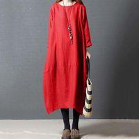 Casual Sukienki Sukienka Kobiety Vintage Solid Color Plus Size Indie Saree Boho Etniczny Styl Długość Dla Damskich Ubrania Szata