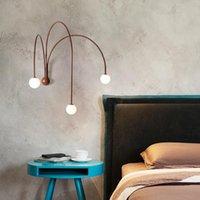 Duvar Lambası Nordic LED Cam Topu Kırmızı Eğri Aplik Işık Sanat Dekorasyon Oturma Odası Yatak Odası Başucu Koridor Koridor Armatürleri