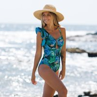 One-Piece Suits Ashgaily 2021 Arrival Swimsuit Women One Piece Swimwear Floral Printed Monokini Backless Bathing Suit Bodysuit Beach Wear