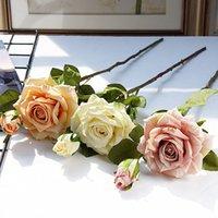 Cadeaux réalistes de rose coiffés Daily Home Décorations de Noël Hôtel Fleur artificielle Rose Bouquet De Mariage Placement des accessoires Vtky2180