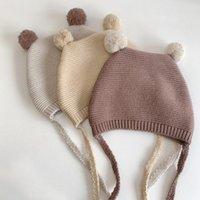Caps & Hats Autumn Winter Warm Knitted Baby Hat Soft Double Pompom Born Toddler Beanies Cap Solid Color Crochet Infant Girl Boy Bonnet