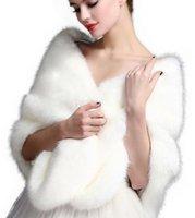 Casaco de inverno Casaco de nupcial Fala do falso envolve xales quente shrug Outerwear Cinza Branco Vermelho Mulheres Jaqueta Prom Noite Manto Lenço