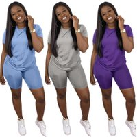 Women plus size Tracksuits 2piece set summer fall clothes solid color running t-shirts shorts sweatsuit tee&top capris sports sets pullover leggings fitness 01386