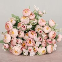 Heads Tea Rose Bud Artificial Flowers Silk Peony Bouquet Vases For Home Decor Party Spring Wedding Decoration Fake Plants Decorative & Wreat