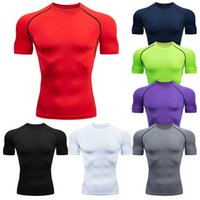 Men's Running Compression Tshirts Quick Dry Soccer Jersey Fitness Tight Sportswear Gym Sport Short Sleeve Shirt Breathable 210918