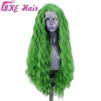 Perucas onduladas de águas verdes longas cosplay com lateral bangs 180% densidade resistente ao calor perucas sintéticas dianteiras para as mulheres