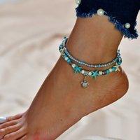 Accessori Doppio strato Riso Tartaruga Tortoise Ciondolo spiaggia Starfish Pearl Anklet