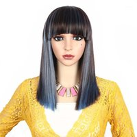 Umot Synthetic Wig Short Bob With Bangs Straight Hair Cosplay Wigs For Women Mix Brown Blue Burgundy Red Wine Color 16 Inch1