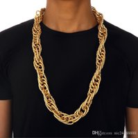 Hip-hop Men Chain Jewelry Lock Necklace Fashion Night Club Gold Silver Rough Hemp Flower Curb Necklace 2.2cm Chain for Men