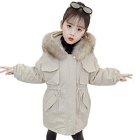 Jackets Coat For Girl Fur Hoodies Cotton Padded Style Children's Jacket Russian Winter Clothing 6 8 10 12 14