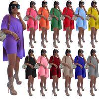 Женщины дизайнеры Одежда 2021 трексуиты спортивные костюмы летний с коротким рукавом костюм твердая длина средней длины XS - 5XL