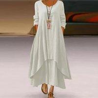 Plus Taille Summer Casual Femmes Robes Linge V Col V Le cou Double couche boutonnée longue asymétrique maxi élégante partie