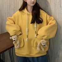 Autumn And Winter Women's Loose Solid Color Hoodie Sweatshirt Cute Bear Pocket Long Sleeve Casual Pullover Hoodies & Sweatshirts