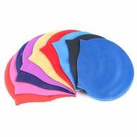 Capuchon de natation professionnelle 100% chapeaux de silicone Silicone Swim Swim Casquettes Hommes Femmes Enfants Noir Rouge Bleu