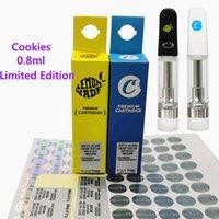 Cookies Vape Cartridge LIMITED Edycja Opakowania Premium Cartridges Puste dla grubych atomizerów olejowych 510 Wątek Pióro Vaporizer Koszyk 0,8 ml 1.0ml ceramiczna cewki Enicka