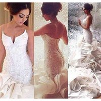 2019 Hot Sexy Mermaid Wedding Dresses Lace Up Organza Chapel Train Lace Applique Bridal Gowns Custom Made 2015 Plus Size
