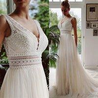 Vestido De Novia Boho Abiti da sposa 2021 Neck Spiaggia in pizzo Abiti da sposa Bridal Elegante Bohemian Tulle A Line Bridal Dress