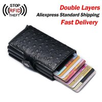 Card Holders Fashion Men Holder Two Layers Rfid Wallets For Hasp Purse Business Women Id PU Leather Wallet