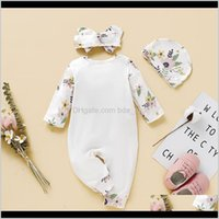 Sets Baby Clothing Baby, Kids & Maternitybaby Girls Floral Print Long-Sleeve Rompers Headband Three Piece Outfits Infant Bodysuit Playsuit F