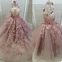 2021 Beautiful Lace Flower Girls Dresses For Wedding Sleeveless Floor Length 3D Flowers Applique A Line Communion Dress