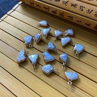 Encantos naturais casca de água doce pingente branco borboleta irregular triângulo forma fazendo jóias acessórios material atacado