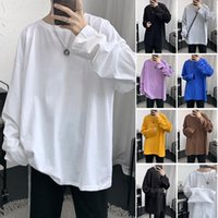 Men's T-Shirts Candy Color Long Sleeve T Shirts For Men 2021 Fashion Trend Clothing Teens High Quality Basic Crew Neck Tees Harajuku Streetw