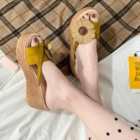 Cunhas chinelos mulheres verão sólido peep toe sapatos mulher casual flip flops plataforma sapatos senhoras sandálias zapatos de mujer sapatos baratos para mulheres comprar sho 7163 #