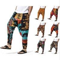 남자 힙합 하렘 바지 가랑이 헐렁한 조깅기 플러스 사이즈 Boho Gypsy Aladdin 여름 보헤미안 네팔 넓은 다리 코튼 인과 원인 인과 히피 바지