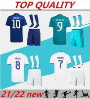 21/22 Gerçek Madrid Futbol Formaları Yetişkin Setleri 2021 2022 Camiseta De Futbol Benzema Modric Isco Tehlike Kroos Futbol Gömlek Kitleri
