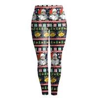 Leggings de Navidad Deporte Mujeres Fitness Casual Elk Santa Claus Imprimir High Cintura deportiva Gimnasio Pantalones Mujeres